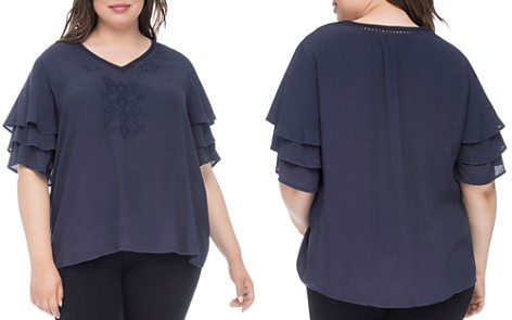 B Collection by Bobeau Curvy Clare Tiered-Sleeve Top - Bloomingdale's_2