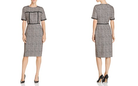 Badgley Mischka Lace-Trim Herringbone Dress - Bloomingdale's_2