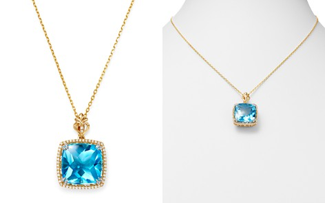 """Bloomingdale's Swiss Blue Topaz & Diamond Square Pendant Necklace in 14K Gold, 18"""" - 100% Exclusive_2"""