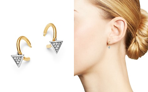 Adina Reyter 14K Yellow Gold & Sterling Silver Pavé Diamond Tiny Triangle Charm Huggie Hoop Earrings - Bloomingdale's_2