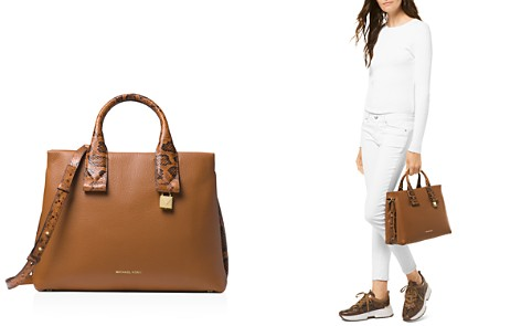 MICHAEL Michael Kors Rollins Large Leather & Snakeskin-Embossed Leather Satchel - Bloomingdale's_2