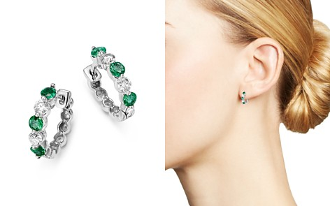Emerald and Diamond Huggie Hoop Earrings in 14K White Gold - 100% Exclusive - Bloomingdale's_2
