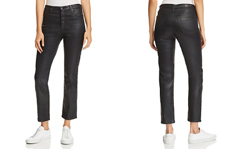 AG Isabelle Coated Straight Jeans in Leatherette Black - Bloomingdale's_2