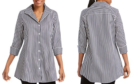 Foxcroft Cecilia Stripe Button-Down Tunic - Bloomingdale's_2