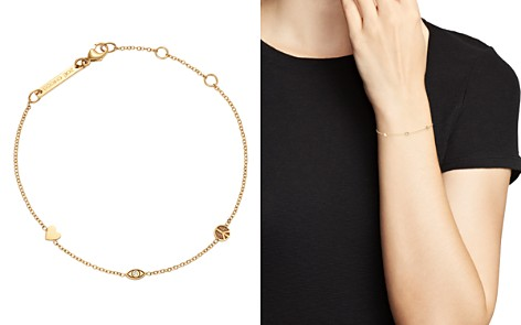 Zoë Chicco 14K Yellow Gold Itty Bitty Heart, Peace Sign & Evil Eye Diamond Adjustable Bracelet - Bloomingdale's_2