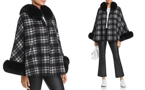 Maximilian Furs Fox Fur Trim Cashmere Cape - 100% Exclusive - Bloomingdale's_2