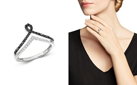 Bloomingdale's Diamond & Black Diamond Chevron Ring in 14K White Gold - 100% Exclusive_2