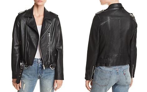 AQUA Belted Leather Moto Jacket - 100% Exclusive - Bloomingdale's_2