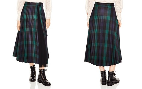Sandro Sunshine Pleated Plaid Midi Skirt - Bloomingdale's_2
