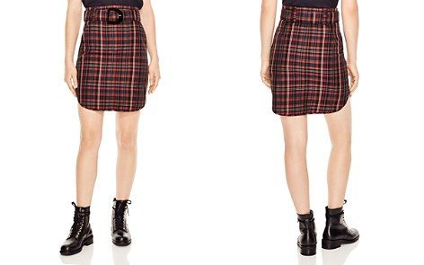 Sandro Atypique Rounded Plaid Skirt - Bloomingdale's_2