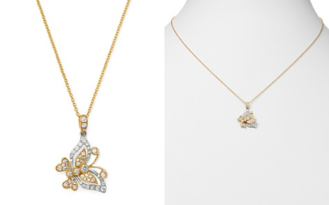 Diamond Butterfly Pendant Necklace in 14K Yellow Gold & 14K White Gold, 0.35 ct. t.w. - 100% Exclusive - Bloomingdale's_2