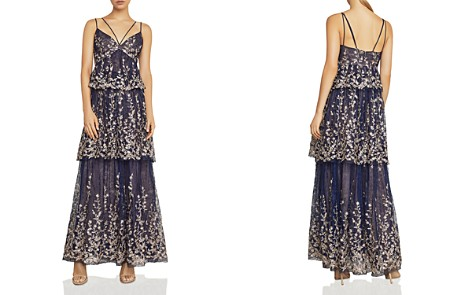 BCBGMAXAZRIA Embroidered Tiered Lace Gown - Bloomingdale's_2