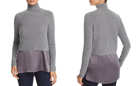Elie Tahari Casper Mixed Media Turtleneck Sweater - Bloomingdale's_2