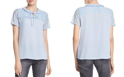 KARL LAGERFELD Lace-Inset Keyhole Top - Bloomingdale's_2