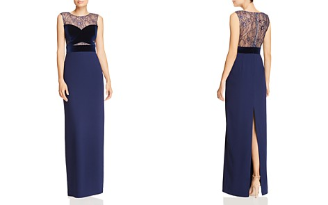 Aidan by Aidan Mattox Lace & Velvet Bustier Column Gown - 100% Exclusive - Bloomingdale's_2