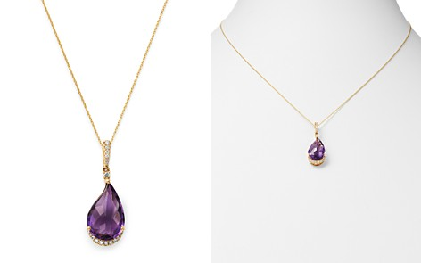 "Bloomingdale's Amethyst & Diamond Pendant Necklace in 14K Yellow Gold, 18"" - 100% Exclusive _2"