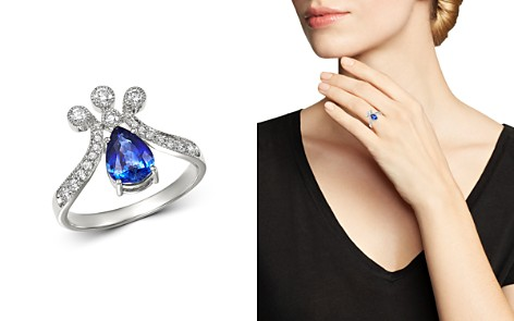 Bloomingdale's Sapphire & Diamond Crown Ring in 14K White Gold - 100% Exclusive_2
