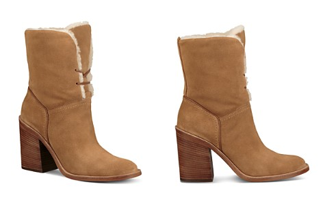 UGG® Women's Jerene Round Toe Suede & Sheepskin High-Heel Booties - Bloomingdale's_2
