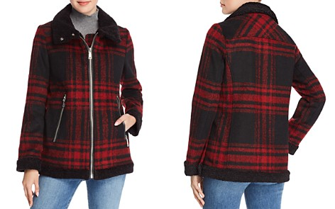 VINCE CAMUTO Faux Shearling Collar Oversized Plaid Jacket - Bloomingdale's_2