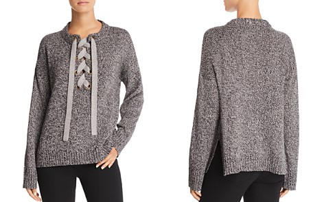 AQUA Marled Lace-Up Sweater - 100% Exclusive - Bloomingdale's_2
