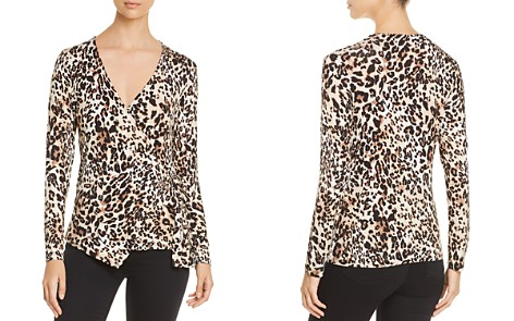 B Collection by Bobeau Cheetah-Print Faux-Wrap Top - Bloomingdale's_2