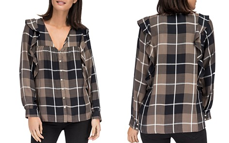 B Collection by Bobeau Pangra Plaid Ruffle Blouse - Bloomingdale's_2