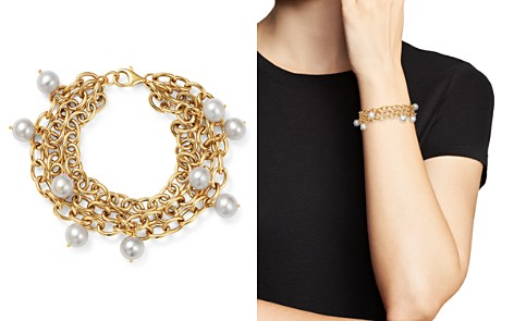 Bloomingdale's Cultured Freshwater Pearl Triple Strand Bracelet in 14K Yellow Gold - 100% Exclusive_2