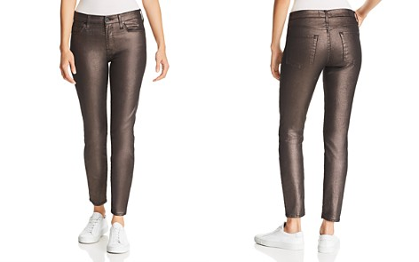 7 For All Mankind Shine Ankle Skinny Jeans in Gunmetal - Bloomingdale's_2