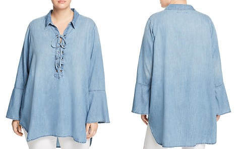 Seven7 Jeans Plus Lace-Up Chambray Tunic - Bloomingdale's_2