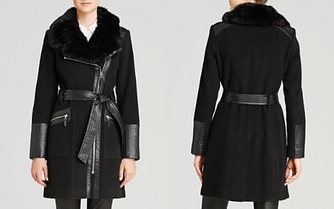 Via Spiga Belted Faux Fur-Trim Asymmetric Coat - Bloomingdale's_2