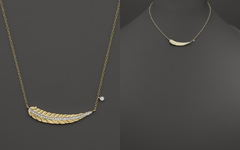 """Meira T 14K Yellow Gold Curved Leaf Necklace with Diamonds, 16"""" - Bloomingdale's_2"""