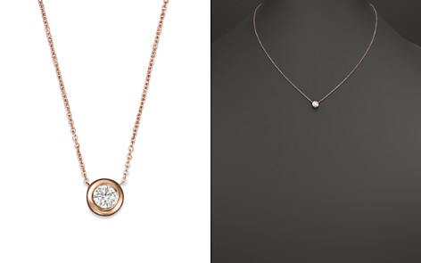 "Roberto Coin 18K Rose Gold and Diamond Bezel Necklace, 16"" - Bloomingdale's_2"