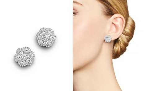 Diamond Flower Cluster Stud Earrings in 14K White Gold, 2.25 ct. t.w. - Bloomingdale's_2