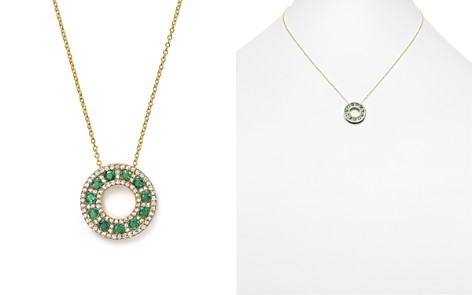 """Emerald and Diamond Circle Pendant Necklace in 14K Yellow Gold, 17"""" - 100% Exclusive - Bloomingdale's_2"""