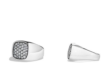 David Yurman Pavé Signet Ring with Gray Sapphire in Silver - Bloomingdale's_2