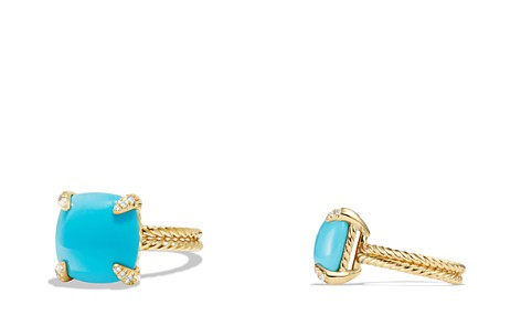 David Yurman Châtelaine Ring with Turquoise and Diamonds in 18K Gold - Bloomingdale's_2