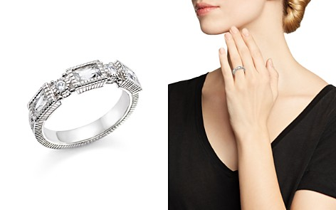 Judith Ripka Sterling Silver Narrow Estate 3 Baguette Band with White Topaz and White Sapphire - Bloomingdale's_2