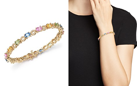 Multi Sapphire and Diamond Bracelet in 14K Yellow Gold - 100% Exclusive - Bloomingdale's_2