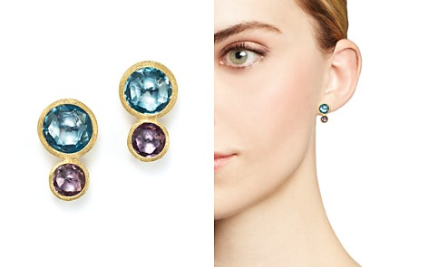 Marco Bicego 18K Yellow Gold Jaipur Two Stone Earrings with Blue Topaz and Amethyst - Bloomingdale's_2