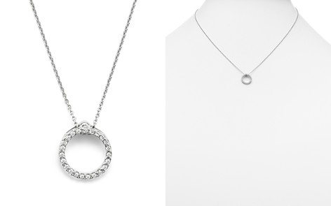"Roberto Coin 18K White Gold and Diamond Extra Small Circle Necklace, 16"" - Bloomingdale's_2"