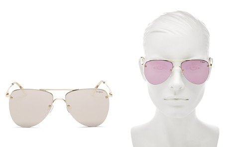 Le Specs Women's The Prince Mirrored Rimless Brow Bar Aviator Sunglasses, 57mm - Bloomingdale's_2
