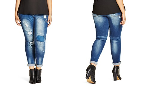 City Chic Harley Distressed Patched Skinny Jeans in Denim - Bloomingdale's_2