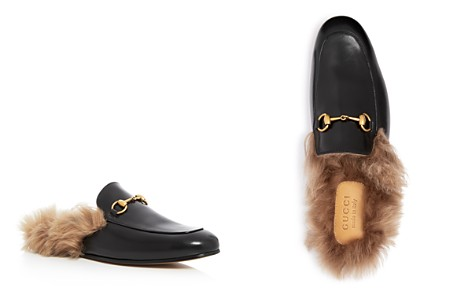 Gucci Men's Princetown Leather and Lamb Fur Slippers - Bloomingdale's_2