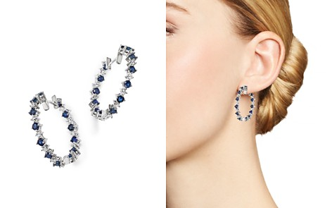 Diamond and Blue Sapphire Inside-Out Hoop Earrings in 14K White Gold - 100% Exclusive - Bloomingdale's_2