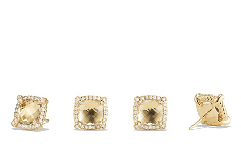 David Yurman Châtelaine Pavé Bezel Stud Earrings with Champagne Citrine and Diamonds in 18K Gold - Bloomingdale's_2