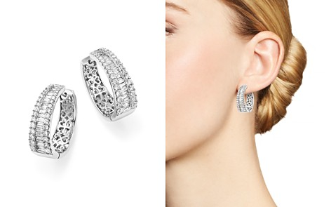 Diamond Round and Baguette Hoop Earrings in 14K White Gold, 3.0 ct. t.w. - 100% Exclusive - Bloomingdale's_2
