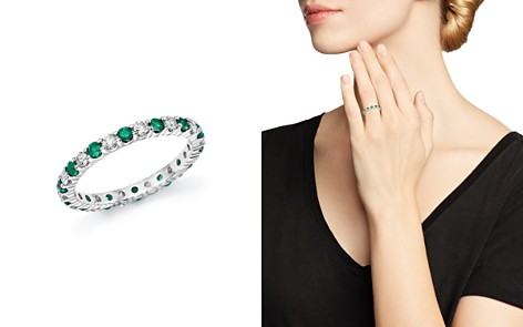 Diamond and Emerald Eternity Band in 14K White Gold - 100% Exclusive - Bloomingdale's_2