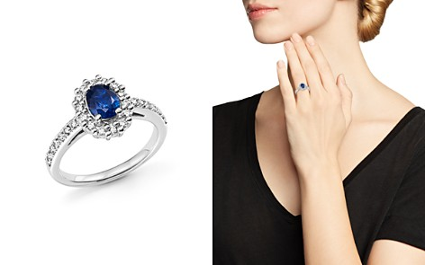 Sapphire Oval and Diamond Halo Ring in 14K White Gold - 100% Exclusive - Bloomingdale's_2
