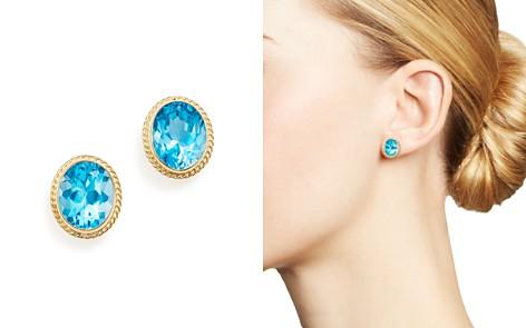 Blue Topaz Oval Large Bezel Stud Earrings in 14K Yellow Gold - 100% Exclusive - Bloomingdale's_2