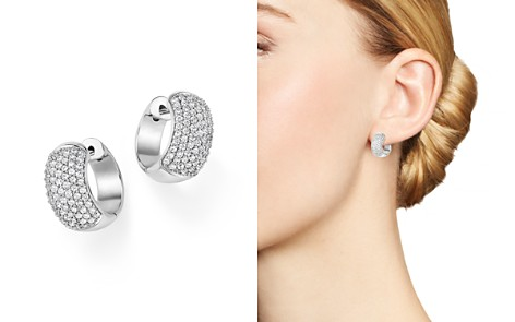 Diamond Pavé Huggie Hoop Earrings in 14K White Gold, 1.0 ct. t.w. - 100% Exclusive - Bloomingdale's_2